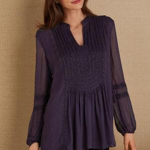 Soft Surroundings Purple sheer beaded top